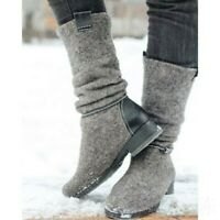 Womens Slouch Riding Mid Calf Boots Retro Low Heels Suede Round Toe Pull On Shoe