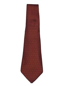 HERMES Paris Burgundy Red H Logo Silk Tie