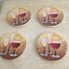 Group Therapy Coasters By Thirstystone, Set Of 4 Absorbant Coaster, Wine Glasses