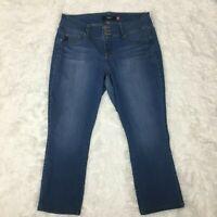 TORRID Women's Stretch Denim 3 Button Zip Crop Jeans Pants ~ 16 ~ Medium Wash