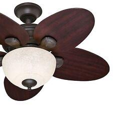 "Hunter 34"" Casual Small Room Ceiling Fan - New Bronze - Italian Amber Glass"