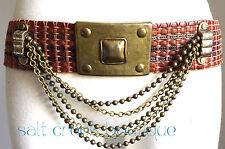 Vintage BOHO Streets Ahead WIDE Woven Brown Leather Belt Size Medium CINCH Waist