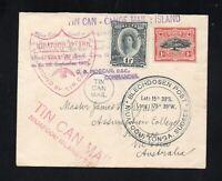 TONGA 1937  TIN  CAN  CANOE  MAIL COVER  NIUAFOOU  ISLAND TO  KILMORE  VICTORIA