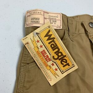 Vintage 80s Wrangler Carpenter Shorts Boys Size 12 Slim Tan New Tags USA Rare