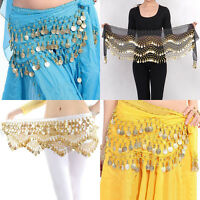 Belly Dance Gold Coin 3 Rows Belt Hip Scarf Skirt Wrap Chain Dancing Costume MG