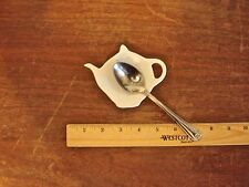 Spoon Teabag Holder Individual White Ceramic Teapot