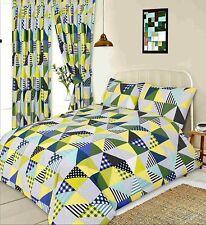 Housse de couette lit double set Géométrique patchwork vert citron blanc