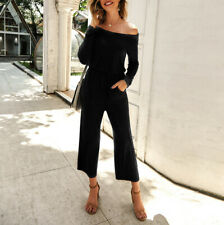 Women Solid Wide Leg Long Sleeve Jumpsuit Cold Shoulder Evening Party Playsuits