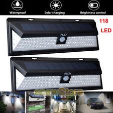 2x 118LED Solar Powered PIR Motion Sensor Wall Light Outdoor Garden Lamp 3 Modes