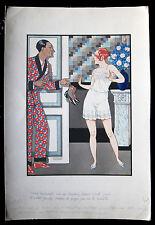 Fernand COUDERC 1920s Art Deco Style Risque WATERCOLOR Drawing  ~ PARIS Latest!