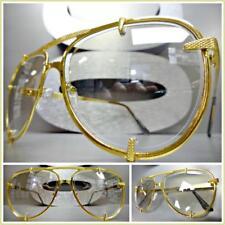 Mens or Women VINTAGE RETRO Style Clear Lens SUN GLASSES Unique Gold Metal Frame