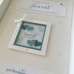 Personalised Emerald 55th Wedding Anniversary Card, Swarovski crystals, boxed
