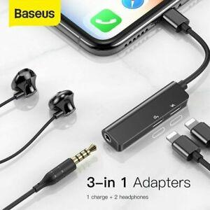 Baseus 3 in 1 iP to 3.5mm AUX Jack Headphones Adapter Chargeer Audio Splitter