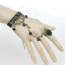 GOTHIC WOMEN LACE FLOWER HAND SLAVE HARNESS BRACELET CHAIN RING JEWELRY FABULOUS