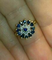 14k Gold Finish 2 CT Round Cut Blue Sapphire & Diamond Cluster Wedding Ring