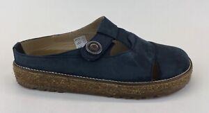 Haflinger Womens Blue Leather Mules Flats Slip Ons Sz US 10 EU 41