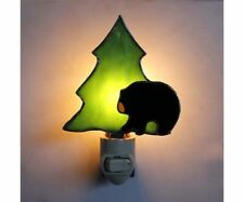 STAINED GLASS - NIGHTLIGHT -  Black Bear with Tree GE282