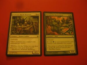 Defender Tribal Lot: Stalwart Sheild-Bearer, Overgrown Battlement, LP-MP, EDH