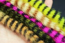 5 colors assorted Black Barred Rabbit Zonker Strips Straight Cut Bass Fly Tying