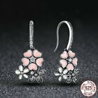 Women 925 Silver Delicate Flower White Topaz Hook Dangle Earrings Party Jewelry