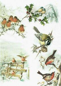 Rice Paper Decoupage Scrapbook Craft Sheet Birds 932