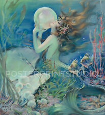 Sea Mermaid Holding Pearl, 1939 Vintage Fine Art Giclee Canvas Print 32x35