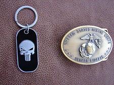U.S. MARINE CORPS SCOUT SNIPER - PUNISHER Belt Buckle- Keyring Combo