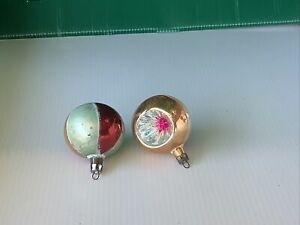 VINTAGE CHRISTMAS ORNAMENTS MERCURY GLASS  INDENTS HAND BLOWN & PAINTED