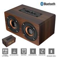 Retro Subwoofer Wireless Bluetooth Stereo Speaker FM Radio W/ Alarm Clock USB TF