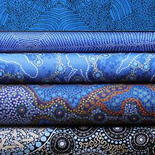 QUILTERS FAT QUARTER BUNDLE OF 5 - AUSTRALIAN ABORIGINAL ART FABRICS - BLUE #2