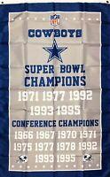 Dallas Cowboys NFL Super Bowl Championship Flag 3x5 ft Sports Banner Man-Cave