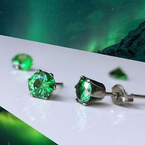 Titanium Fresh Green CZ Studs, 4mm 5mm & 6mm, Nickel Free Emerald Cubic Zirconia