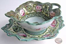 Nippon Hand Painted Moriage Jeweled Dots Mayonaisse Sauce Bowl Liner Nappy