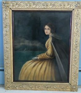Antique Folk Art Portrait of New England Captain's Wife, Early American Restored