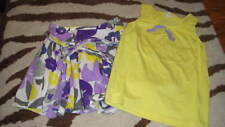 MINI BODEN 5-6 PURPLE YELLOW FLORAL SKIRT TOP SET
