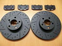 For Nissan 350z Roadster 03-10 Dimpled Grooved Front Black Brake Discs & Pads