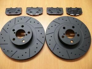 Front Brake Discs & Pads For Nissan 350z Roadster 03-10 Dimpled Grooved Black