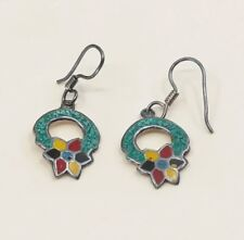 Silver Enamel Flower, Stamped tm 95 Vtg Sterling Handmade Earrings, Mexico 925