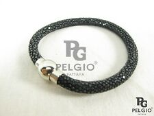 PELGIO Real Genuine Polished Stingray Skin Leather Cuff Magnetic Bracelet Black