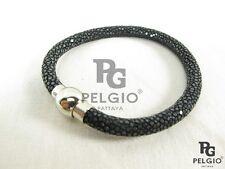 PELGIO Real Genuine Polished Stingray Skin Leather Cuff Magnetic Bracelet Black