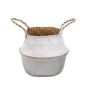 Woven Seagrass Basket Plant Pot Garden Indoor Flower Box Storage Bag Home Decor