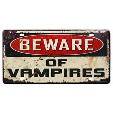 Beware Vampires Retro Metal Tin Sign Homewares Horror Punk Gothic Dead Cave Bar
