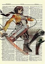 Mikasa Attack On Titan Anime Dictionary Art Print Picture Poster Book Manga