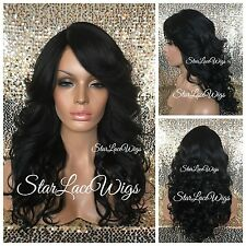 Long Curly Lace Front Wig Layered Off Black #1b Bangs Heat Safe Ok
