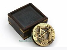 "Antique Nautical Brass 4"" Sundial Compass W Wooden Glass Top Box Working Replica"