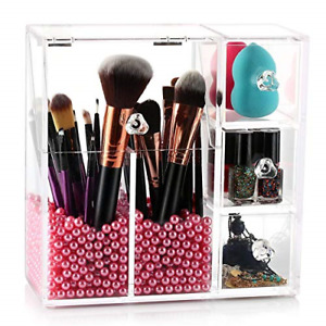 HBlife Makeup Brush Holder, Acrylic Makeup Organizer with 2 Brush Holders and 3