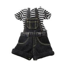 Black Stripe T-Shirt Jumpsuit for 1:6th BJD Blythe Dolls Clothes Accessory