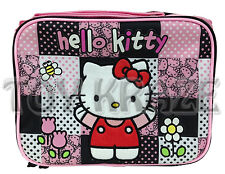 HELLO KITTY LUNCH BOX! BLACK PINK & WHITE LARGE CHECKS TOTE SCHOOL BAG NWT