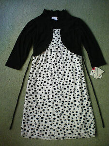 Girl's Party Dress, Black/White Polka-Dot, attached Ruffly Jacket, Size. 10, New