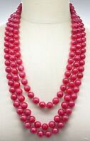 Red Marbled Acrylic Bead Beaded Gold Tone Multi-Strand Necklace Vintage